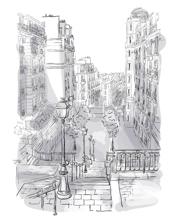montmartre: Vector illustration of a view of Montmartre in Paris
