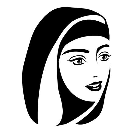 흰색 배경에 머리 스카프에 회교도 여자의 흑백 초상화