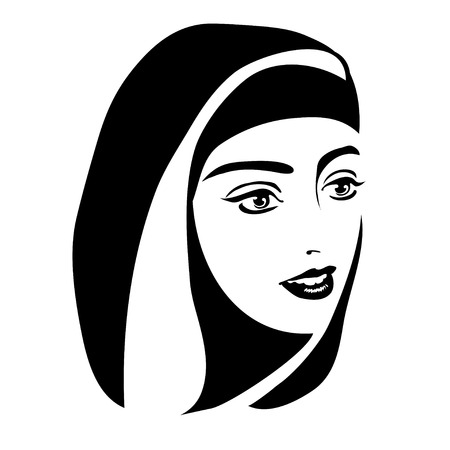 monochrome portrait of a Muslim woman in a headscarf on a white background