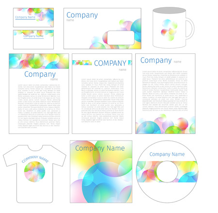 White corporate identity template with colorful soap bubbles Vector