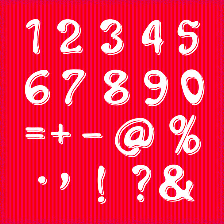 numerical: vector set of handwritten numbers and symbols on a white background.  For party poster, greeting card, banner or invitation. Cute numerical icons and signs.