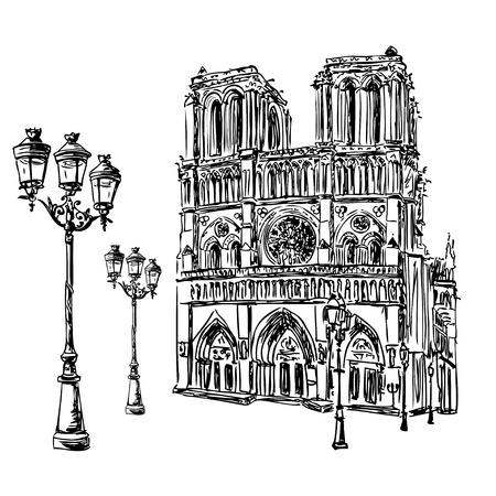 ノートルダム ・ ド ・ パリ大聖堂とランタン、フランス。手描きのフランス旅行のランドマークのベクトル図をスケッチ。