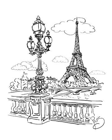 에펠 탑 (Eiffel Tower)과 턴에서 세 느 강 강 뷰의 벡터 스케치 일러스트