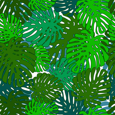philodendron: seamless pattern of leaves monstera various shades of green on a white background Illustration