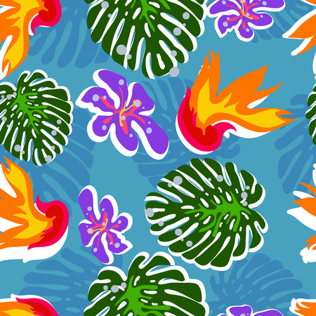 tropical flower: seamless tropical flower vector pattern background