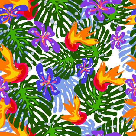 luau party: seamless tropical flower vector pattern background