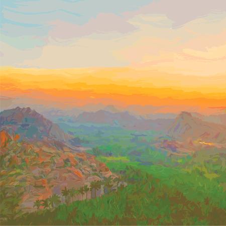 rural india: vector illustration of sunrise in the city of Hampi, state Kornatoka, India