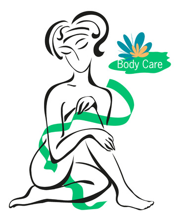 nude female: vector illustration of a nude female nature is covered with tape on a white background with a logo on the care of the body Illustration