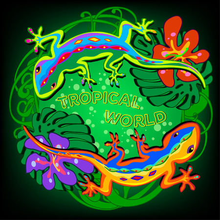 vector illustration in the form of a circle of colored lizards on a tropical background with flowers and leaves Vector
