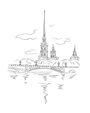 vector schets Sint-Petersburg Uitzicht vanaf de rivier de Neva op Peter en Paul Vesting in Spb, Rusland. Stock Illustratie