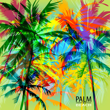 Tropical summer print with palm. can be used for a poster or printing on fabric  イラスト・ベクター素材