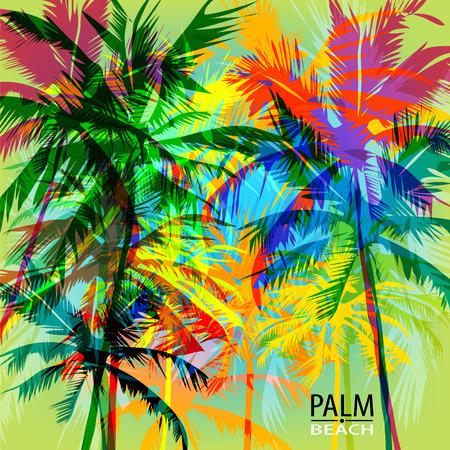 estate: Stampa di estate tropicale con palme. può essere utilizzato per un poster o la stampa su tessuto Vettoriali