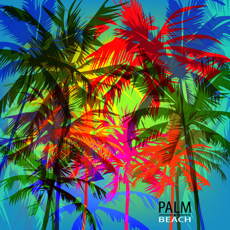 Tropical sunset on palm beach can be used for a poster or printing on fabric