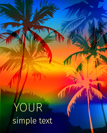 tropical sunset: vector poster depicting a tropical sunset with palm trees and space for text