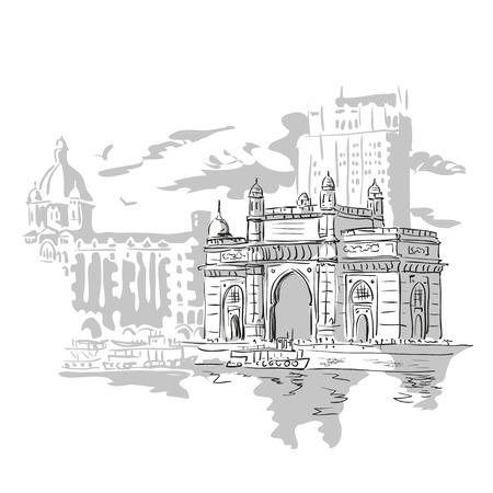 뭄바이, 인도 게이트와 타지 마할 호텔 뭄바이, 아라비아 해에서보기. 벡터 흑백 그림입니다.