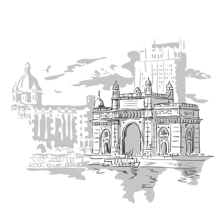 Mumbai, India Gate and the Taj Mahal Hotel Mumbai, the view from the Arabian Sea. Vector monochrome illustration.