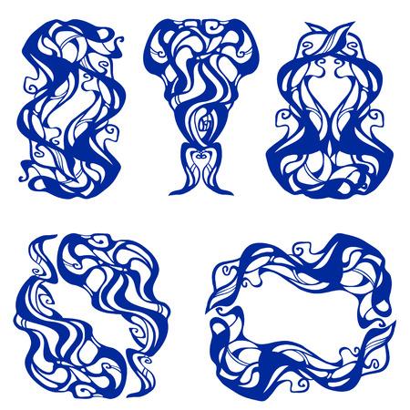 stile liberty: set di vignette in in stile Art Nouveau. Carte perfette per qualsiasi altro tipo di design, compleanno e altre vacanze. Vettoriali
