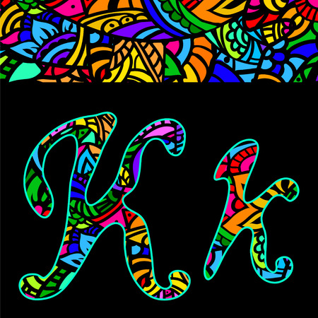 western script: vector capital and small letters K with abstract ethnic  patterns. Rich ornate alphabet in orient style. Fancy multicolored letter with a decorative pattern can be used for printing on fabric, card Illustration