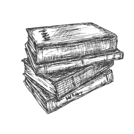 vector drawing a pile of books