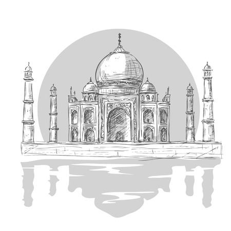 agra: Taj Mahal, Agra, India in vintage hand drawn illustration