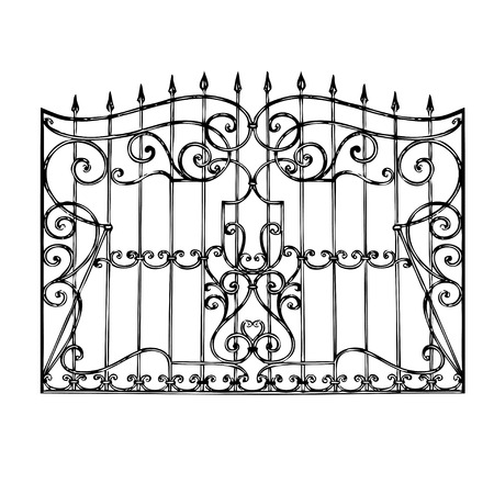 wrought iron: Cancello in ferro battuto, porta, recinto Vettoriali