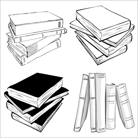 book: Books nastavena. Otevřené a uzavřené knihy, naskládané knihy a jednu knihu na bílém pozadí. Ilustrace