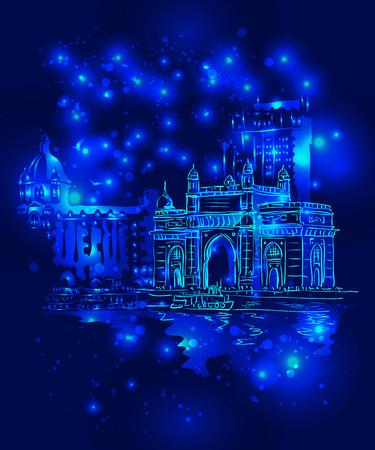 night view: Mumbai, India Gate and the Taj Mahal Hotel Mumbai, the view from the Arabian Sea against the backdrop of night starry sky. Vector illustration. Illustration