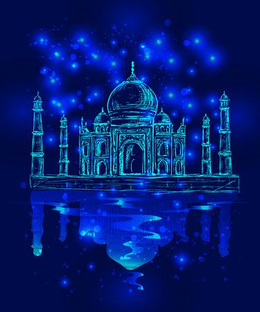タージ ・ マハル、夜空の背景での異常なベクトル画像  イラスト・ベクター素材