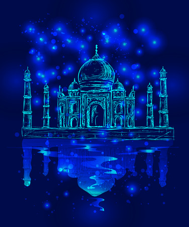 indian light: unusual vector image of the Taj Mahal in the night sky  background