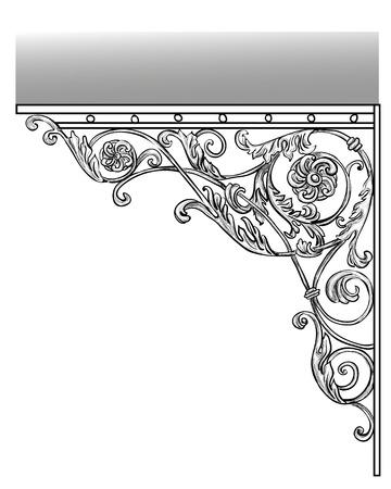 puertas de hierro: El art�stica forja Hierro forjado productos visera Foto de archivo