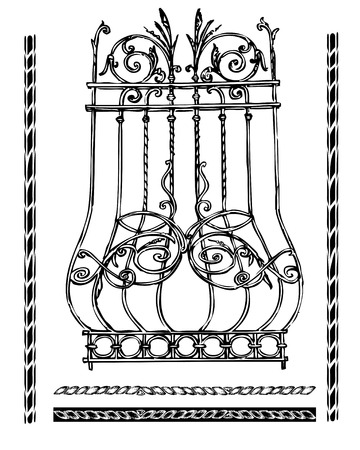 grille: wrought-iron grille on a window