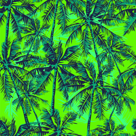 tropical forest: Seamless vector tropical pattern depicting palm trees on the  bright green background