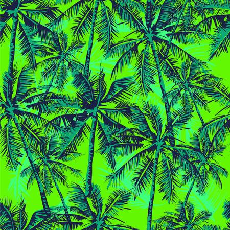 frutas tropicales: Sin fisuras vector patrón tropical representa palmeras en el fondo de color verde brillante