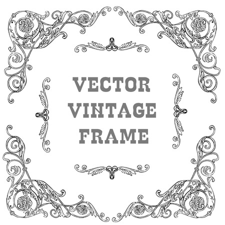 Black baroque frame on a White background. Vintage badge with retro ornament for page decoration, invitation, congratulation or greeting card. There is place for text in the center.