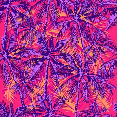 明るいピンク色の背景でヤシの木を描いた熱帯パターンをシームレスなベクトル