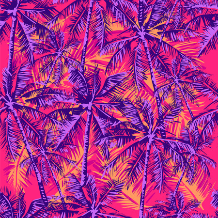 Seamless vector tropical pattern depicting palm trees on the bright pink background
