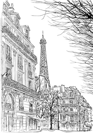 pencil drawn: sketch of Parisian street with trees and the Eiffel Tower in the background