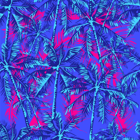 Seamless tropical pattern depicting palm trees on the bright pink background