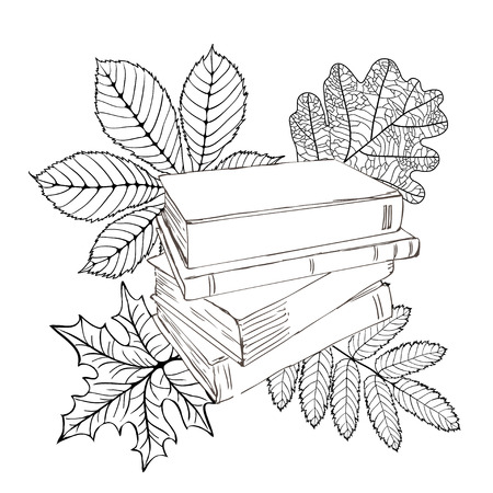 tex: Monochrome illustration of books with autumn leaves and place for tex on a white background. Training and education. Back to school.