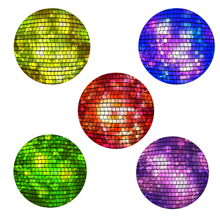 retro disco: Set of isolated disco balls  on white background. Vector illustration