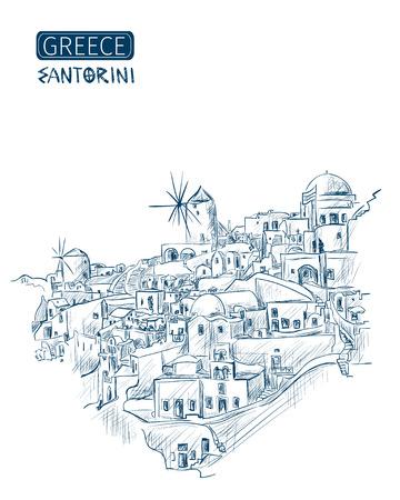 산토리니, 그리스을 스케치합니다. 흰색 배경에에게 해 (Aegean Sea)가 내려다 보이는. 벡터 일러스트