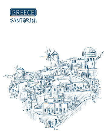 overlooking: sketch Santorini, Greece. Overlooking the Aegean Sea on a white background. Vector