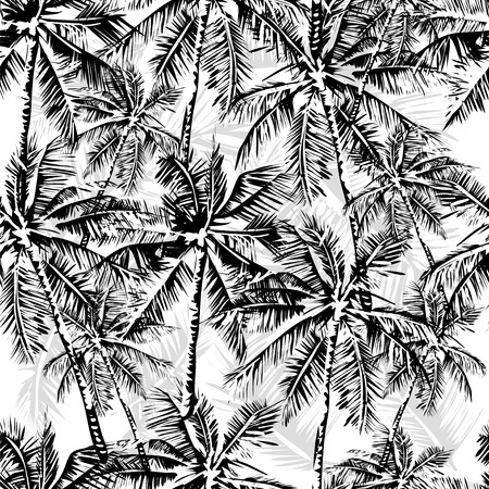 Seamless vector monochrome tropical pattern depicting black palm tree on a white background Vettoriali