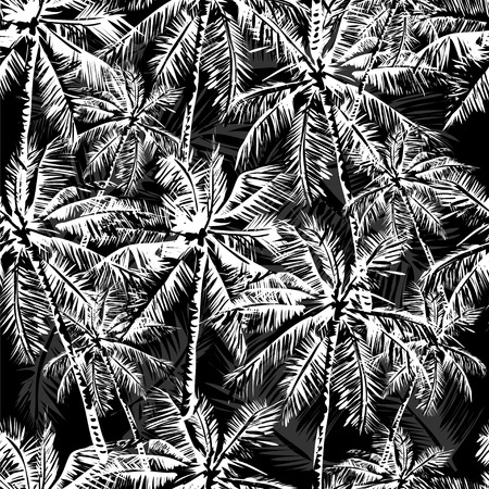 Seamless monochrome tropical pattern Vectores