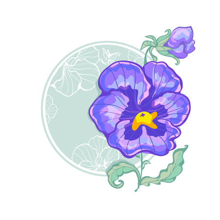 pansies: blue pansies at the round green background in retro style