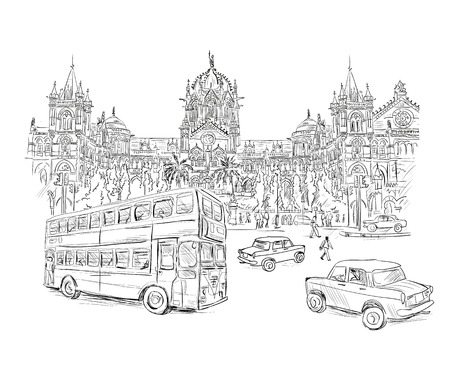 terminus: Chhatrapati Shivaji Terminus an historic railway station in Mumbai Illustration