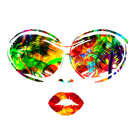 glamur: face of woman with sunglasses with reflection of palm trees and sunlight. For posters, invitations, disco.