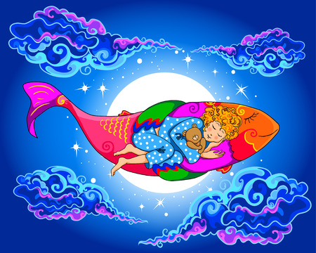 moon fish: Sleeping baby with a soft toy, his enfold a fantastic fish, they fly in the background of the moon across the sky with bright clouds. Stock Photo