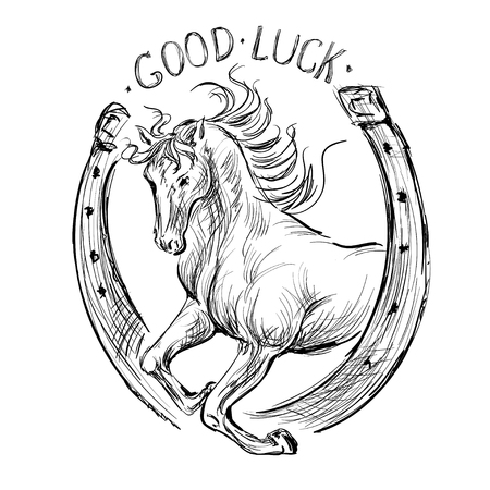 isolated image horseshoe for good luck and a galloping horse