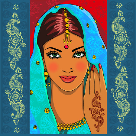 fashion portrait: Portrait of an Indian woman with mehndi and paisley Stock Photo